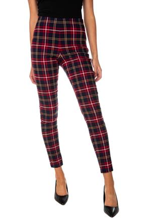 Plaid High-Rise Pull-On Pant