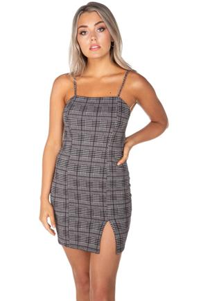 Emilia Glen Plaid Bodycon Dress with Side-Slit