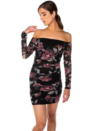 Floral Mesh Ruched Off-the-Shoulder Dress