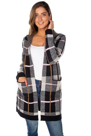 Navy Plaid Coatigan with Pockets