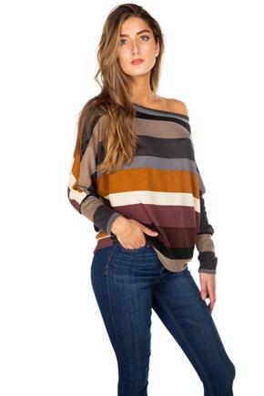 Stripe Off-the-Shoulder Dolman Sleeve Top