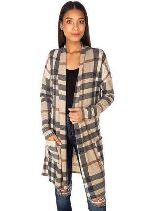 Plaid Long Sleeve Cardigan with Pockets