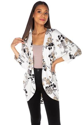 Floral and Butterfly Cocoon Cardigan