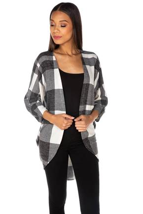 Plaid 3/4 Sleeve Cocoon Cardigan