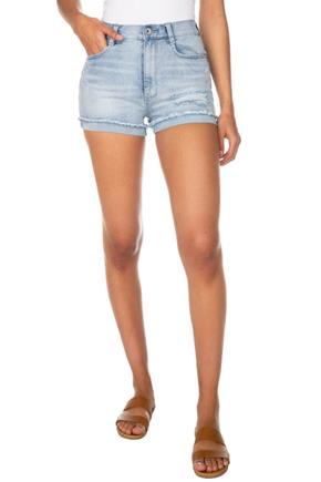 Wallflower Rae Wash High-Rise Short with Frayed Turn-Up Cuffs