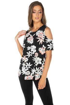 Cold-Shoulder Tunic with Raised Floral Pattern