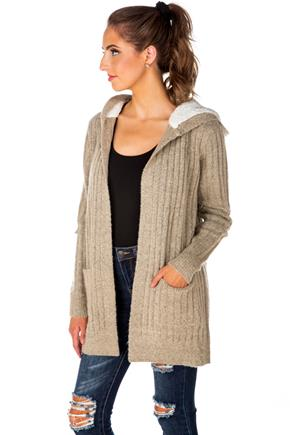 Ribbed Cardigan with Sherpa-Lined Hood
