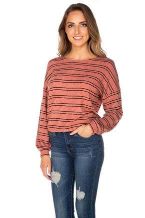 Stripe SuperSoft Balloon Sleeve Crop Sweater