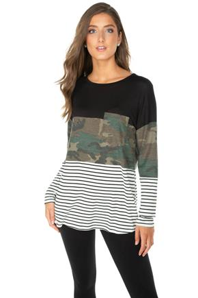 Camo and Stripe Colour-Block Long Sleeve Tunic