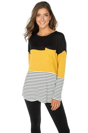 Stripe Colour-Block Long Sleeve Tunic