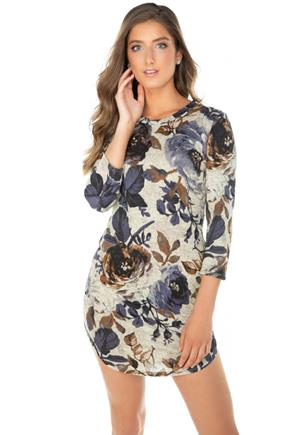 Floral 3/4 Sleeve Bodycon Dress