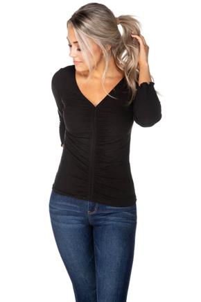 Ribbed 3/4 Length Sleeve Top with Ruched Detail