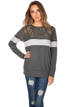 Camo Colour-Block Lightweight Sweatshirt