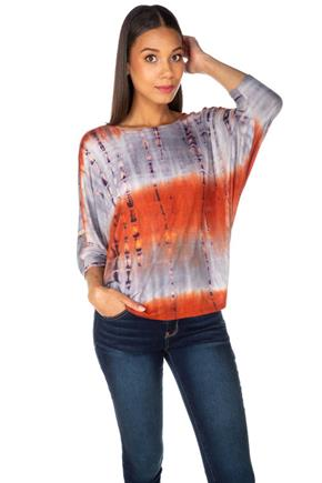Bamboo Tie-Dye Dolman Sleeve Top with V-Back