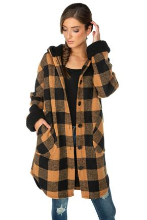 Plaid Hooded Jacket with Sherpa Lining