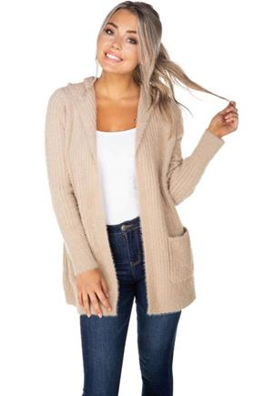 Eyelash Hooded Cardigan
