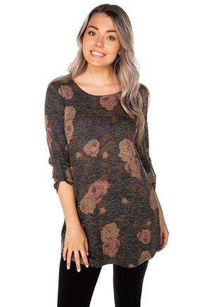Floral Space Dye 3/4 Sleeve Tunic