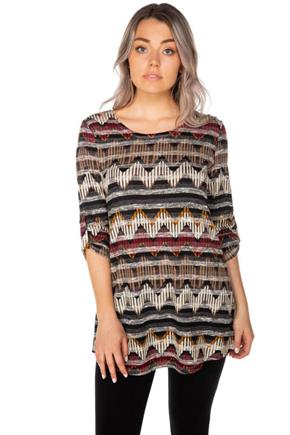 Chevron Tunic with Rolled-Up Sleeves