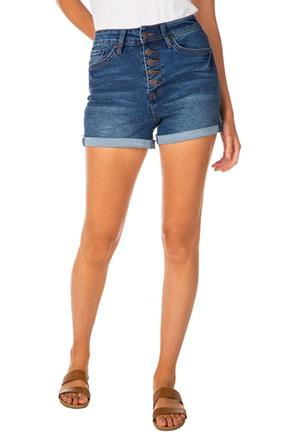 "YMI ""Vintage Dream"" Mid-Wash High-Rise Exposed Button-Fly Short"