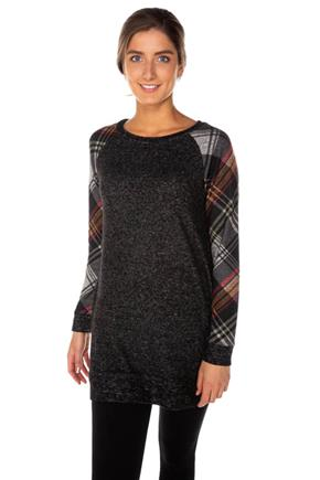 SuperSoft Tunic with Plaid Sleeves and Elbow Patch Detail