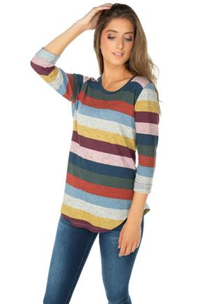 Stripe Knit Sweater with 3/4 Roll-Up Sleeves