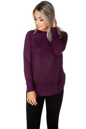 Knitted Crewneck Sweater with Round Hem