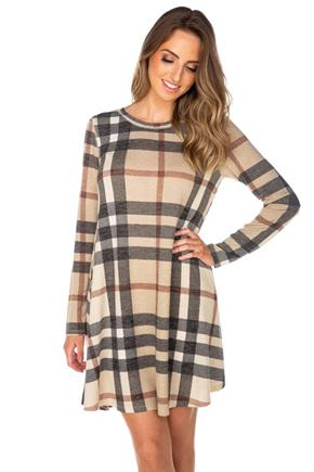 Plaid Long Sleeve Swing Dress with Pockets