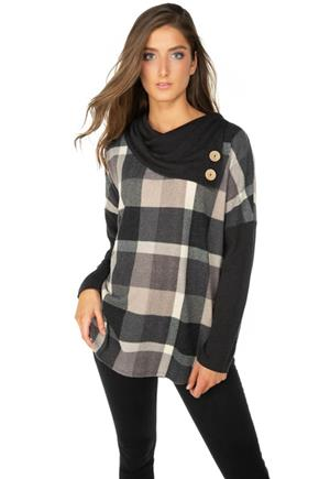 Plaid Split Neck Poncho with Buttons