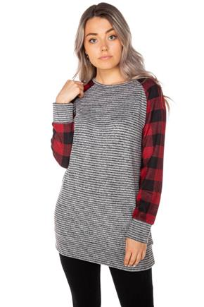 Supersoft Stripe Tunic with Buffalo Plaid Sleeves