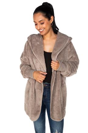 Faux Fur Hooded Cardigan