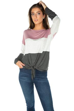 Colour-Block Long Sleeve Tie-Front Top