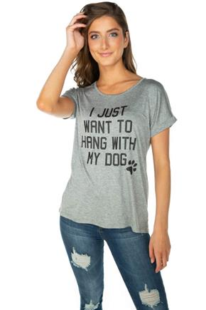 "T-shirt à imprimé ""I Just Want to Hang With My Dog"""