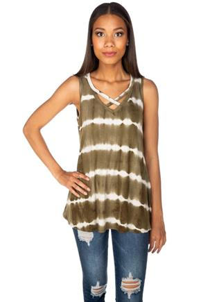 Tie-Dye Ribbed Sleeveless Tunic with Criss Cross Detail