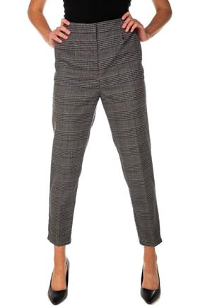 Glen Plaid Ankle-Length Trouser with Elastic Back