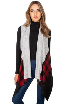 Buffalo Plaid Colour-Block Supersoft Vest
