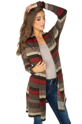 Stripe Long Sleeve Cardigan with Pockets