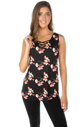 Brushed Floral Sleeveless Tunic with Criss Cross Detail