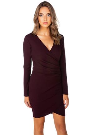 Long Sleeve Crossover Bodycon Dress