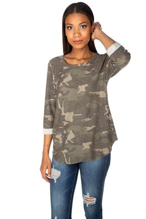 Camo French Terry Sweatshirt with 3/4 Roll-Up Sleeves
