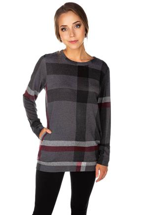 Plaid Long Sleeve Tunic with Hidden Pockets