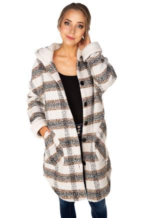 Brushed Plaid Hooded Jacket with Sherpa Lining