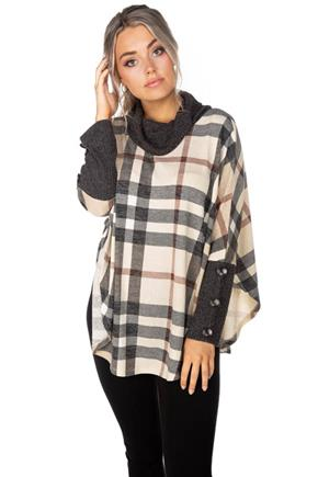 Plaid Knit Cowl Neck Poncho with Buttons