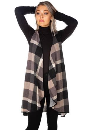Plaid Brushed Knit Vest with Contrast Trim