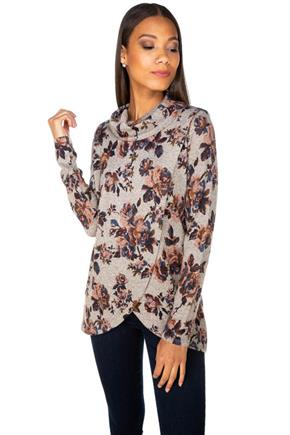 Floral Long Sleeve Cowl Neck with Crossover Hem