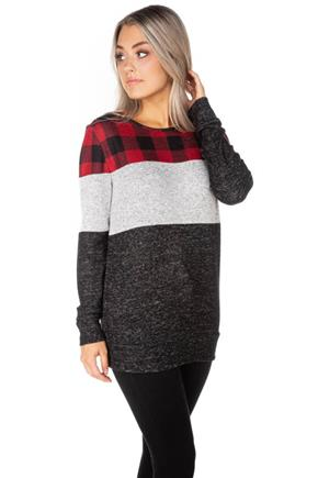 SuperSoft Buffalo Plaid and Colour-Block Long Sleeve Top