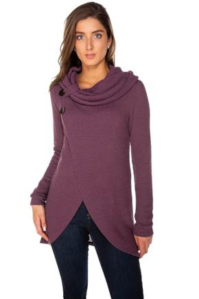 Waffle Knit Long Sleeve Crossover Cowl Neck with Buttons