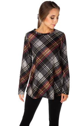 Supersoft Bias Plaid Long Sleeve Swing Sweater
