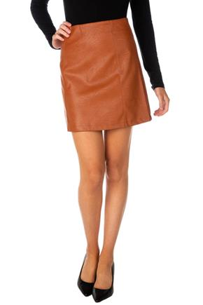 Faux Leather A-Line Skirt with Exposed Zipper