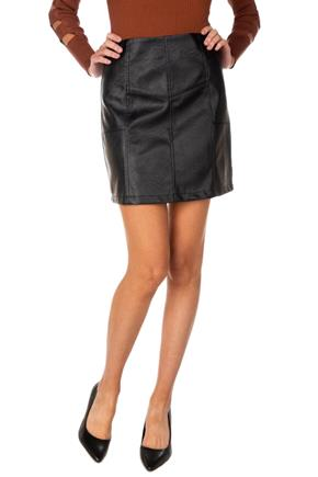 Faux Leather A-Line Skirt with Paneling