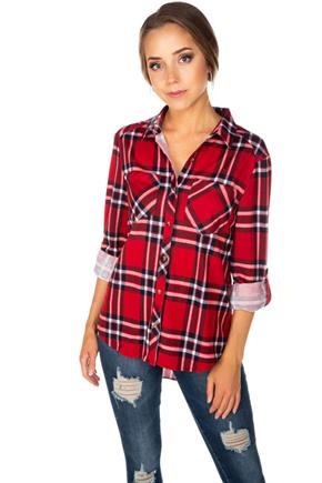Plaid Cozy Knit Boyfriend Shirt with Roll-Up Sleeves